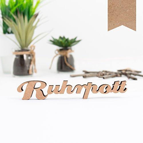 KLEINLAUT 3D-Schriftzug Ruhrpott in Größe: 15 x 2,6 cm - Dekobuchstaben - 32 Farben zur Wahl - Natur (Holz)