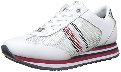 Tommy Hilfiger Tommy Corporate Flag Sneaker, Zapatillas para Mujer, Blanco (White 100), 40 EU