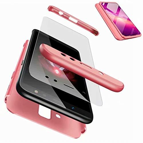 CIRRYS Coque Samsung Galaxy A6 Plus/A6+ Étui 360° Housse PC Hard Shell Anti-Choc Full-Cover Case Scratch Pare-Chocs Casque de Protection et Protecteur d'écran -Or Rose