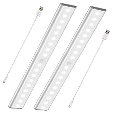 Stick-On Anywhere Portable Closet Lights Wireless 18 Led Under Cabinet Lighting Motion Sensor Activated Build In Rechargeable Battery Magnetic Little Safe Night Tap Light for Closet Cabinet (Silver-2)