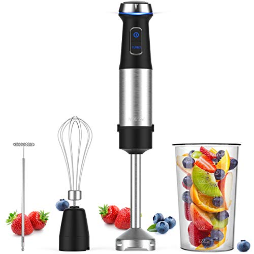 NXONE Immersion Hand Blender, 4-in-1 Variable Stepless Speed Control Multifunctional Stick Blender with Brushed Stainless Steel Blades, 800ml Mixing Beaker, Milk Frother and Egg Whisk for Smoothies, Puree Baby Food, Sauce and Soup, Black