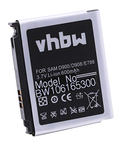 vhbw Akku passend für Samsung SGH-D900e SGH-D 900e Handy Smartphone Handyersetzt Samsung AB503442CE, AB503442CU (600mAh, 3,7V, Li-Ion)