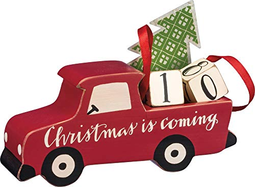 Primitives by Kathy Hand Lettered Countdown Block, Red Truck
