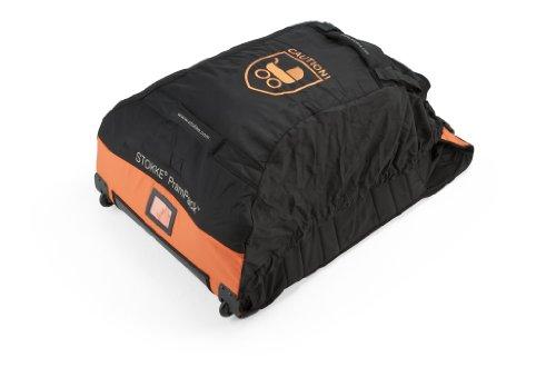 STOKKE® PramPack – Leichte Reisetasche mit Rollen für alle gängigen Kinderwagen – Transport & Aufbewahrung für Buggys – Kompakt einrollbar – Farbe: Schwarz-Orange