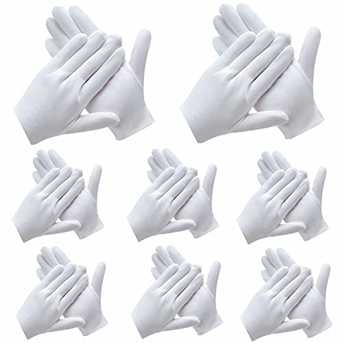 24Pcs White Gloves, ANDSTON 12 Pairs Soft Cotton Gloves, Coin Jewelry Silver Inspection Gloves, Stretchable Lining Glove, Medium Size