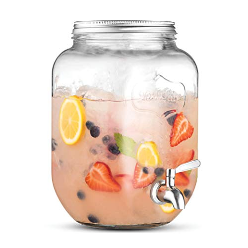 2-Gallon Glass Beverage Dispenser with 18/8–Stainless Steel Spigot - 100%Leakproof - Wide Mouth Easy Filling - Drink Dispenser Beverage For Outdoors, Parties, and Daily Use