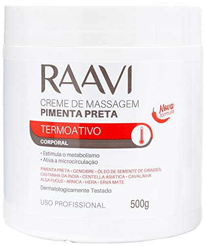 Creme de Massagem de Pimenta Preta Termoativo 500g, Raavi