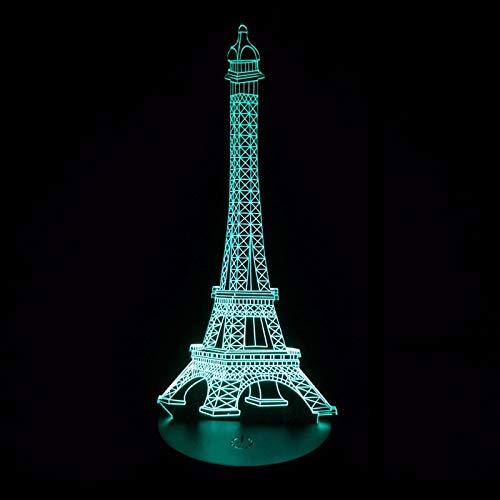 Francia Amor romántico Ctiy París Torre Eiffel 3D LED Luz de noche acrílica Lámpara de mesa de escritorio USB intercambiable Dormitorio de niño Oficina Mesita de noche Regalo para niños Decoració