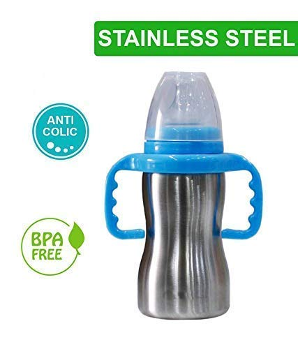RIANZ Thermal Insulation Stainless Steel Baby Feeding Bottle - 290ml (Color May Vary)