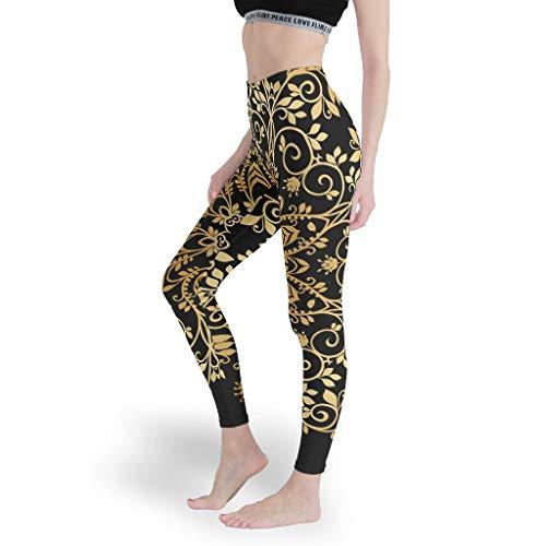 Dofeely Damen Mandala Yoga Pants Hose Fitness Radsport Leggings Lang Elastische Sicher Mandala Druck Sporthose Muay Thai White s