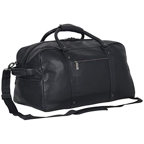 """Kenneth Cole Reaction Men's 20"""" Leather Top Zip Travel with RFID Duffel Bag Black One Size"""