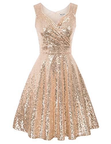 Retro Kleid a Linie v Ausschnitt Kleid Damen 50s Kleid a Linie trägerkleider Fashion Kleid CL1061-2 S