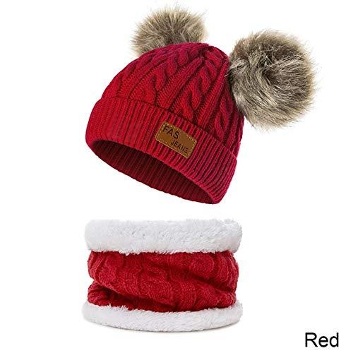 Nuevo Sombrero de bebé Traje de Bufanda Otoño Invierno Tejido para niños Conjunto de Bufanda de algodón para niñas y niños Sombreros Cuello Bufanda para niños-Red 1