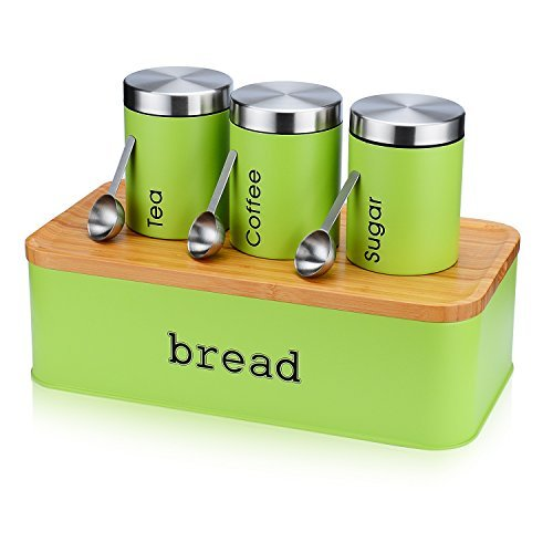 Large Bread Box for Kitchen, Fortune Candy 8 Piece Bread Bin Storage Container Bread Holder with Cutting Board Lids, 3Pcs Food Storage Container Airtight Canisters , 3Pcs Stainless Steel Spoons, Green