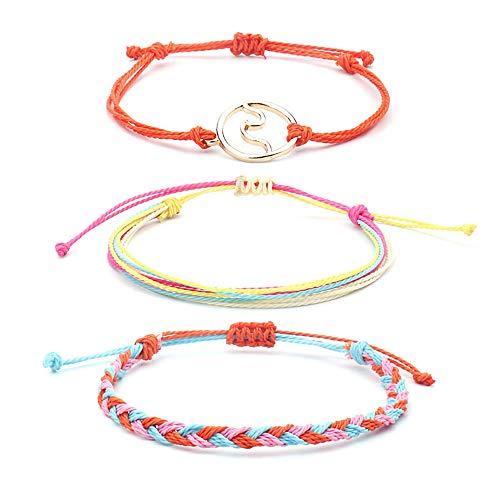 SUNSH 3PCS Wave Anklet Bracelets for Women Girls Handmade Surfer Beach Boho Woven Friendship Ankle Bracelet String Adjustable Mom Gifts for Mothers Day