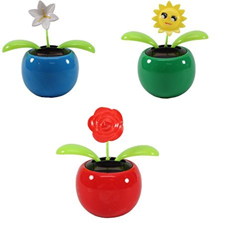 Set of 3 Dancing Flowers ~ 1 Lily+1 Smiley Sunflower+ 1 Rose in Assorted Colorful Pots Solar Toy Holiday Birthday Gift Home Decor US Seller