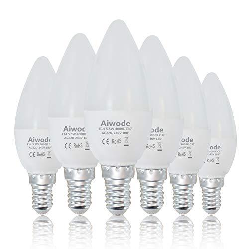 Aiwode E14 LED Lampe Kerzenleuchten,5.5W 470LM Glühbirne Ersetz 40W Naturweiß 4000K,C37 Leuchtmittel Ra80 180° Abstrahlwinkel,6er Pack.