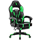 JL Comfurni Gaming Chair Home Office Desk Chair Swivel with Footrest Ergonomic Recliner