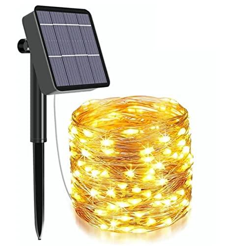 Cadena de luz LED solar 30M / 300LED Luz al aire libre Impermeable Blanco cálido, Alambre de cobre flexible, Para terraza | Jardín |...