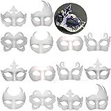 14 PCS DIY White Masks Paper Half Face Masquerade Masks...