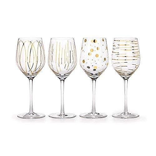 MIKASA Bicchieri da Brindisi Martini, 290 ml, 4 Pezzi Bicchieri Vino Bianco Oro