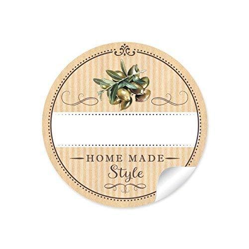 72 STICKER: Schöne Etiketten für die Küche in Natur mit Oliven'Home Made Style' mit Freitextfeld für eingelegte Oliven • 4 cm, rund, matt für eingelegte Oliven, Olivenöl in Glasflaschen
