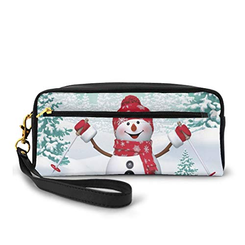 Pencil Case Pen Bag Pouch Stationary,Snow Covered Mountain with Fir Trees and Skiing Snowman Fun Holiday Activity,Small Makeup Bag Coin Purse