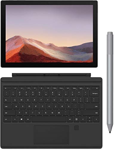 "Microsoft Surface Pro 7 12.3"" (2736x1824) 10-Point Touch Tablet PC + Surface Pro Type Cover w/Fingerprint ID + Pen, Intel 10th Gen Core i3, 4GB RAM, 128GB SSD, Windows 10, Platinum (Latest Model)"