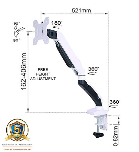 GSA21DS Gas Spring Desk Mount LCD Monitor Arm Stand in White w/vesa Bracket & Monitor Arm: Free up/Down & Left/Right Motion