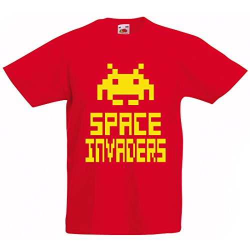Kids and Teens Space Invaders T-shirt, availble in 5 colours, ages 1 to 15 years