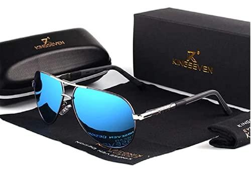 KINGSEVEN Sonnenbrille Herren Vintage Pilot Pilotenbrille N725 - Polarisiert UV400, Ultraleicht Blau