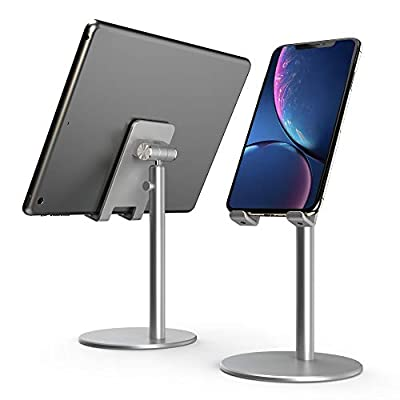 Lumenair Cell Phone Stand, Adjustable Phone Stand for Desk, Alumium Desk Phone Holder Stand Table Stand, Compatible with iPhone iPad, All Other 4''-13'' cellphones Mobile Phones Tablets-Silver