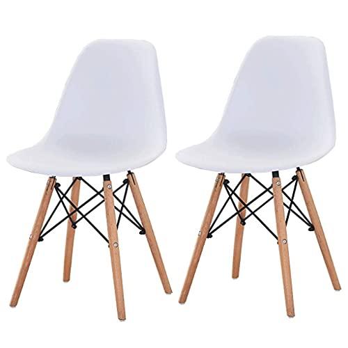 WYBW Silla de comedor para el hogar, juego de 2 sillas de cocina, sillas de comedor con fuertes patas de madera maciza Sillón de respaldo alto para el hogar, cocina, sala de estar, restaurante,blanco