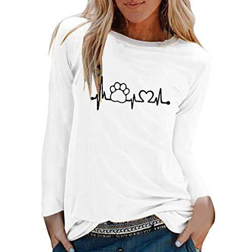 TUDUZ Camisas Mujer Manga Larga Blusas Impresión Tops Cuello Redondo Camisetas (Blanco .c, L)