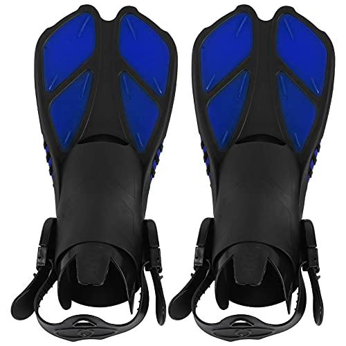 1 par de Aletas de natación Aletas de Buceo Ajustables TPR Talón Abierto Aletas de esnórquel largas Aletas de Buceo(MD)
