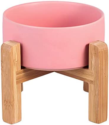LIONWEI LIONWELI Pink Ceramic Elevated Raised Cat Bowl with Wood Stand No Spill Pet Food Water product image