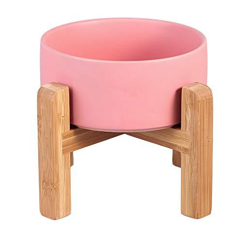 ピンク ペット ボウル 台 フードボウルスタンド犬 猫食器 陶器 大容量 850MLウォーター ボウル 犬猫用 餌入れ 水入れ 水飲みボウル 木製 ペット皿 滑り止め 安定感 取り外し可能 手入れ簡単 ペット用品