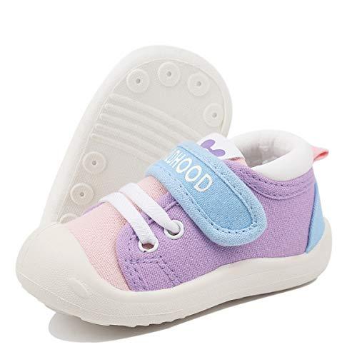DEBAIJIA Lauflernschuhe Babyschuhe 1-4 Jahre Kinder Schuhe Jungen Mädchen Weiche Sohle rutschfeste Segeltuch Turnschuhe 23 EU Purpur Rosa (Etikettengröße 21)