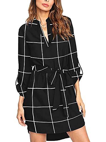 kenoce Vestidos de Camisa para Mujer Mini Vestido de Manga Larga Escote en V Profundo Camisa Holgada a Cuadros Tops de túnica Larga Informal con cinturón/Bolsillos Negro M