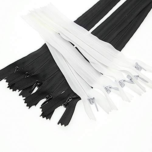 """15cm Fermeture à glissière invisible en nylon de 6""""pour bricolage sur mesure 10 pièces/paquet (Noir & Blanc, 6 pouces) Leekayer"""