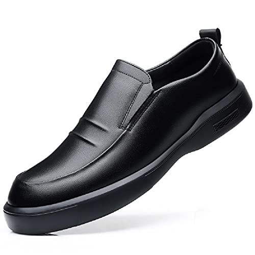 QINHE Zapatos De Negocios Informales para Hombres, Zapatos De Cuero con Cabeza Redonda, Zapatos Individuales, Otoño, Transpirables Y Cómodos, Mocasines De Conducción De Oficina De Trabajo,Black-44