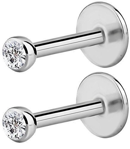 Forbidden Body Jewelry Surgical Steel Internally Threaded Micro CZ Gem Tragus/Labret/Helix Piercing Stud/2 Pack: 16G, 6mm with 2mm Top