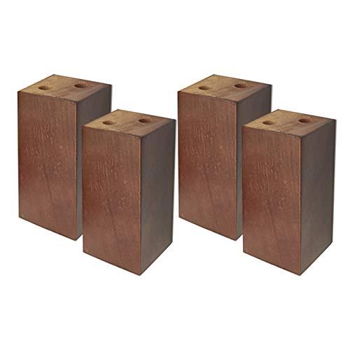 4 Pies de Muebles de Roble Patas de Muebles de Madera Muebles Piernas de Gabinete Bloque de Madera Cuadrado Pies del Sofá Mesa Cama Sillas Gabinete TV Armarios Escritorios,Nuez(8×8cmIncrease 10cm)