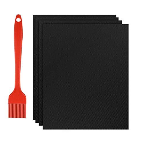 Nasharia BBQ Grillmatte 4er Set, Extra Groß 100% Antihaft BBQ Grillmatten Backmatte mit 1 Silikon Bürste zum Grillen und Backen für Kohle-, Elektro- & Gasgrills, PFOA-frei, 40x50 cm, Kupfer