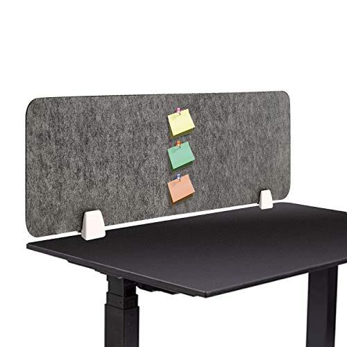 uyoyous Schreibtisch Trennwand Büro Desktop Schallwand Niesschutz Teiler Akustik Trennwand mit 2 Klemmhalterungen für den Schreibtisch Polyesterfaser Dunkelgrau 100X30CM