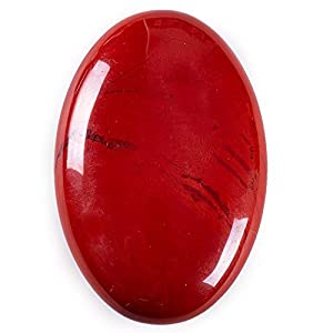 UFEEL Red Jasper Palm Stone Crystal - Natural Chakra Reiki Polished Healing Love Oval Pocket Worry Stone Crystals for Anxiety Stress Relief Therapy