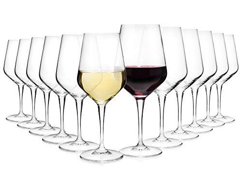 Bormioli Wijnglazen Set 'Electra' 12-delig | Gastronomiekwaliteit | Inhoud rodewijnglas 55 cl | Inhoud witte wijnglas 44 cl | Perfecte schittering dankzij Star Glass technologie (12 witte en rode wijn)