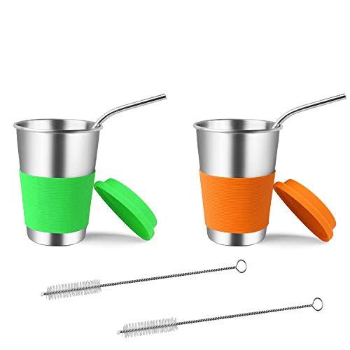 Integrität.1 Edelstahlbecher mit Silikondeckeln und Strohhalmen, 2er-Pack 500ml Trinkbecher Becher BPA-frei für kalte oder heiße Getränke
