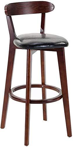 WRISCG Sillas de Bar Cocina Taburetes de Desayuno Patas de Madera - Taburetes de Bar Silla de mostrador Mesa de Comedor Taburete Asiento de Cuero sintético Vintage Rústico Industrial, Negro