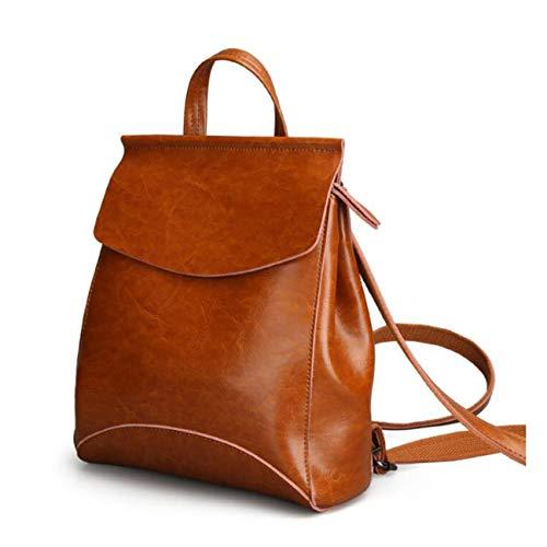 LUUFAN Vintage Leather Backpack Casual Rucksack Cabrio-Schultertasche für Frauen und Mädchen (S-Brown,no buckle)